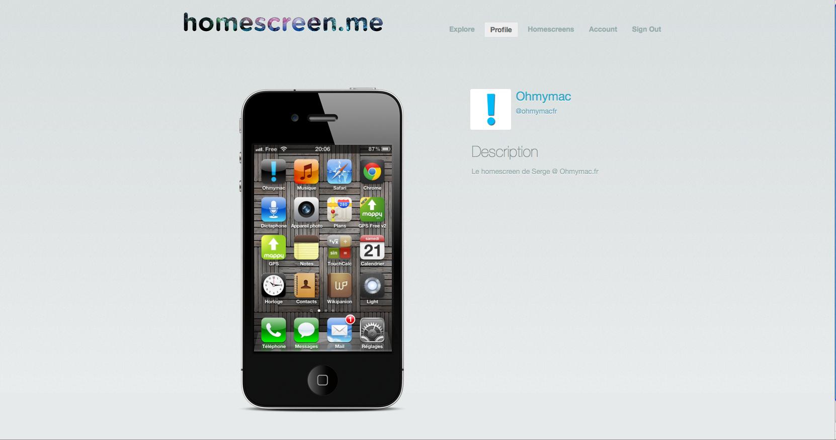 Postez votre homescreen iPhone, iPad, iPad Touch sur Homescreen.me