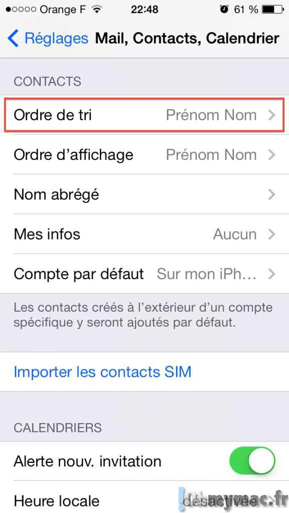 Comment classer vos contacts iPhone selon le nom ou le prénom et choisir leur affichage