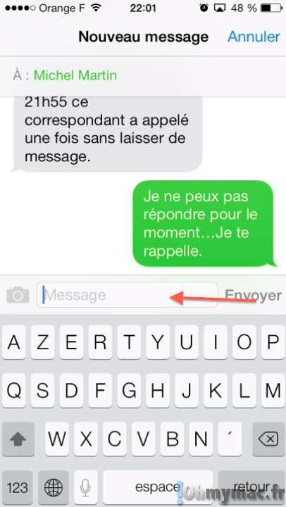 Comment envoyer un message prédéfini quand on ne peut pas répondre à un appel avec son iPhone