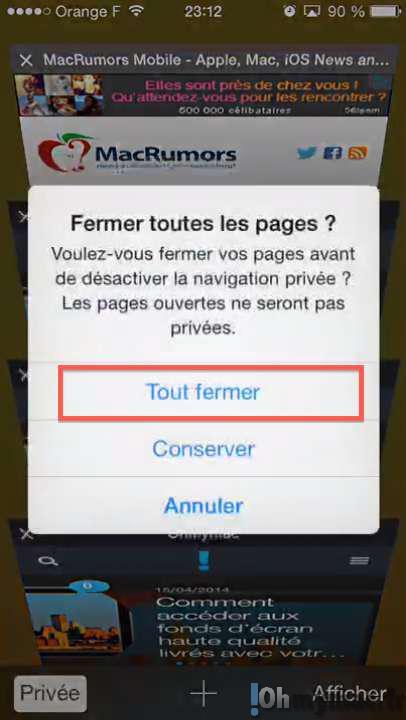 Safari Mobile: fermer toutes les fenêtres ouvertes d'un seul coup