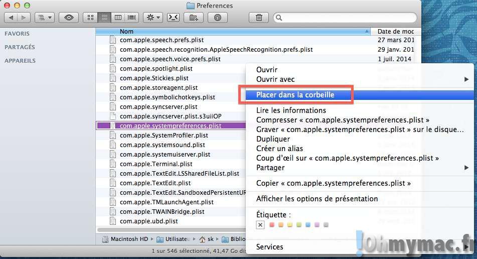 Réinitialiser les Préférences Système du Mac en cas de problème