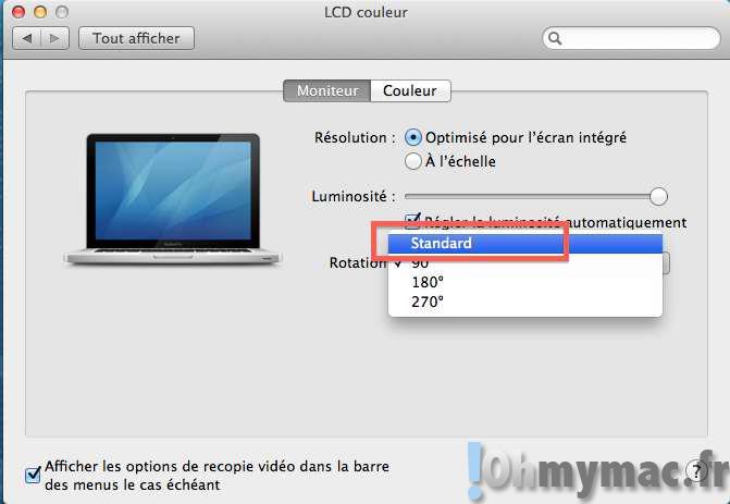 Comment faire faire une rotation à 90°, 180° ou 270° à l'écran de votre Mac