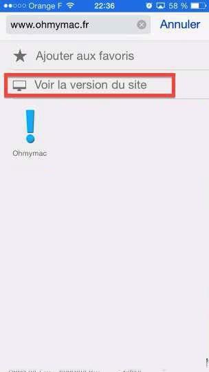 Safari iOS 8: forcer l'affichage de la version normale d'un site au lieu du site mobile sur iPhone/iPad