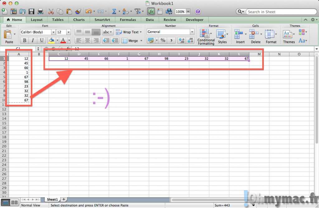 Excel Mac: transposer des colonnes en lignes et inversement