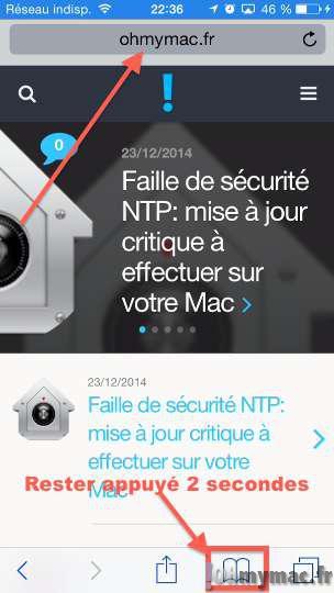 Marquer une page web comme un signet (marque-page) ou l'ajouter à la liste de lecture très rapidement sur iPhone/iPad