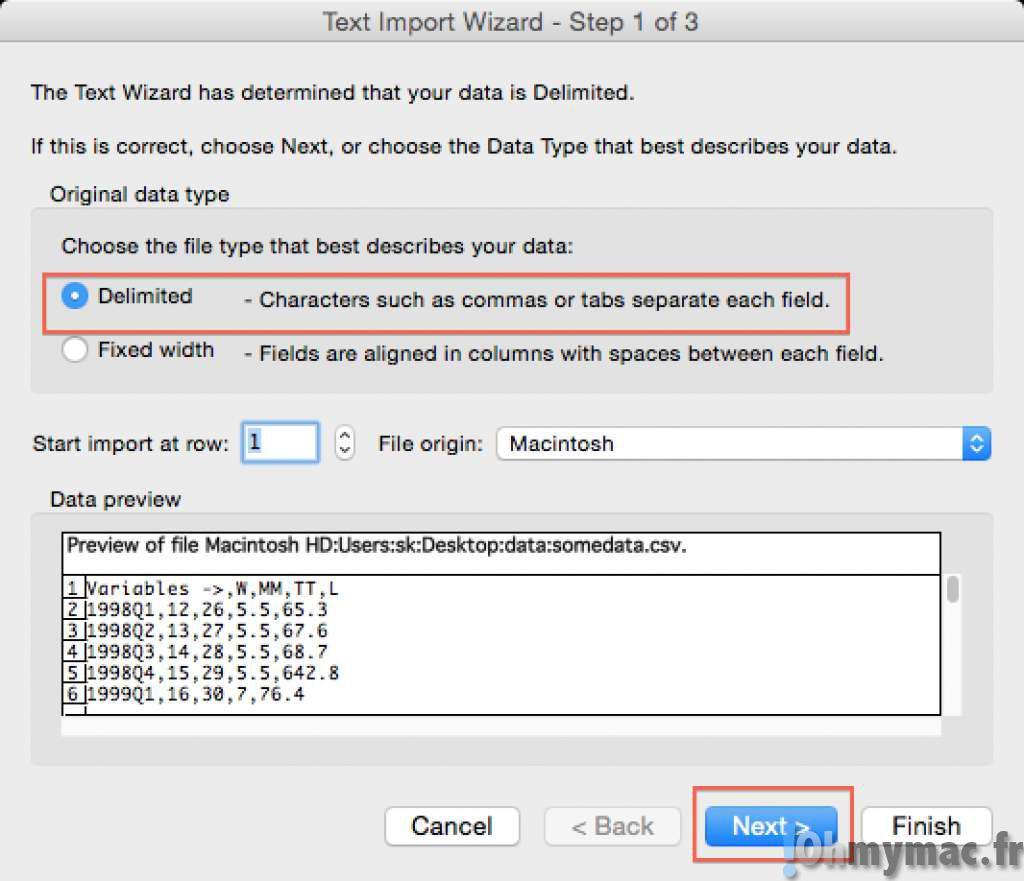 Excel mac ouvrir un fichier csv ohmymac for Ouvrir plusieurs fenetre excel