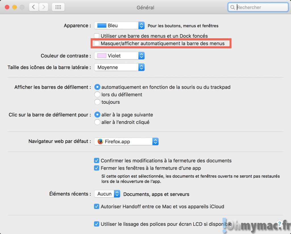 El Capitan: masquer/afficher automatiquement la barre des menus