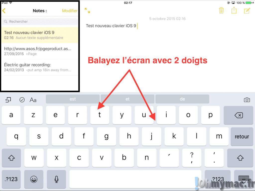 iOS 9: utiliser le curseur virtuel pour une éditon de texte précise et rapide sur iPad