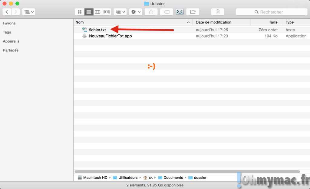 fichier texte finder: Créer un nouveau fichier texte à l'emplacement actuel du Finder sur OS X