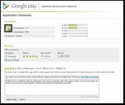 Les développeurs peuvent répondre aux commentaires utilisateurs sur Google Play