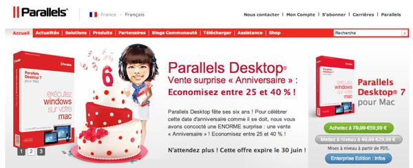 Pour l'anniversaire de Parallels Desktop, 25% à 45% de remise sur le produit