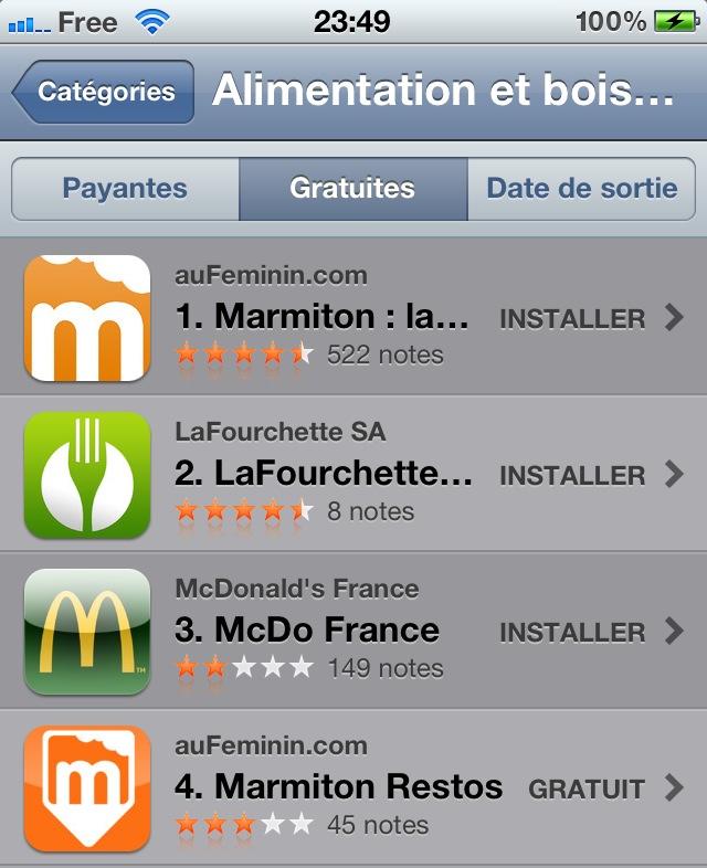 Apple lance une nouvelle catégorie Alimentation et Boissons sur l'App Store