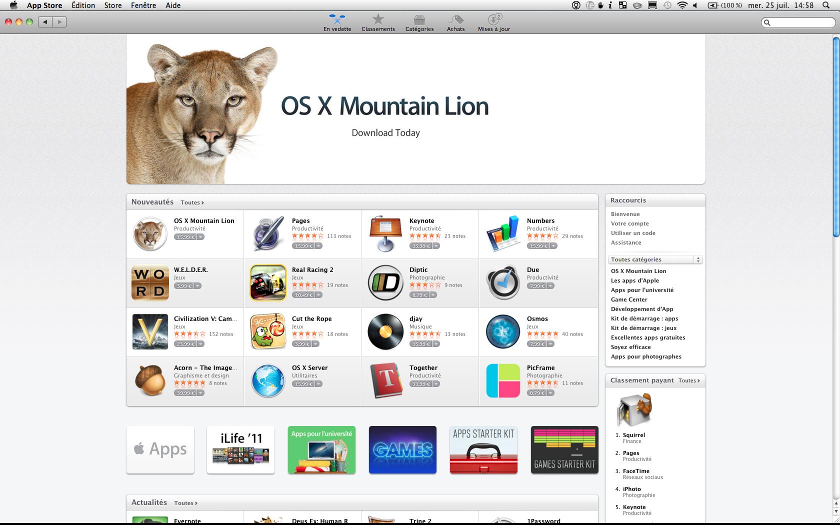 Mountain Lion est disponible sur le Mac App Store