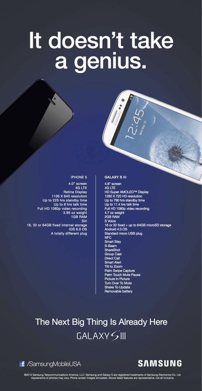 Samsung attaque l'iPhone 5 sur le terrain de la publicité, un utilisateur Apple répond [Mis à jour]