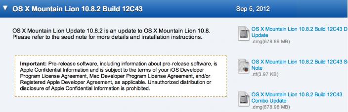 Apple livre OS X 10.8.2 build 12C43 aux développeurs