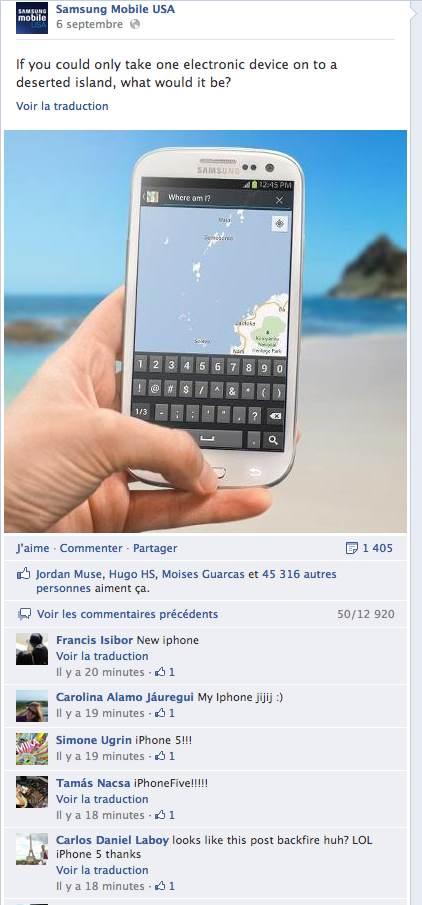 Samsung rate sa campagne de buzz sur Facebook