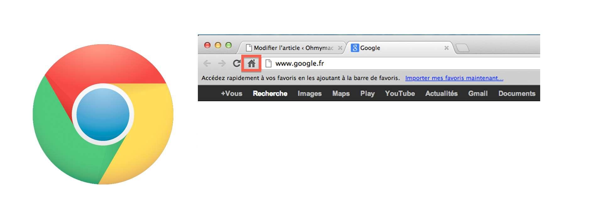 Google Chrome: rétablir ou ajouter le bouton Accueil / home pour la page d'accueil