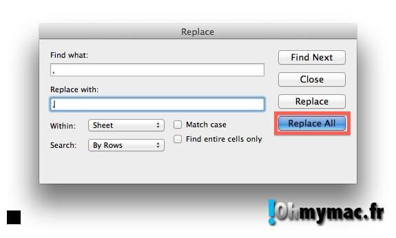 Ohmymac Séparateur décimal sur Excel 2011 Mac 04