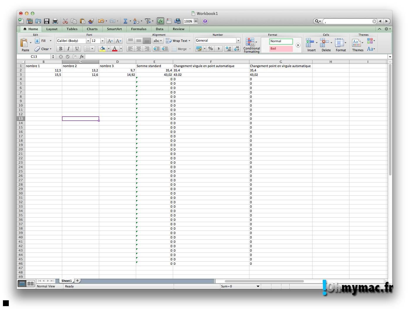 Ohmymac Séparateur décimal sur Excel 2011 Mac 09