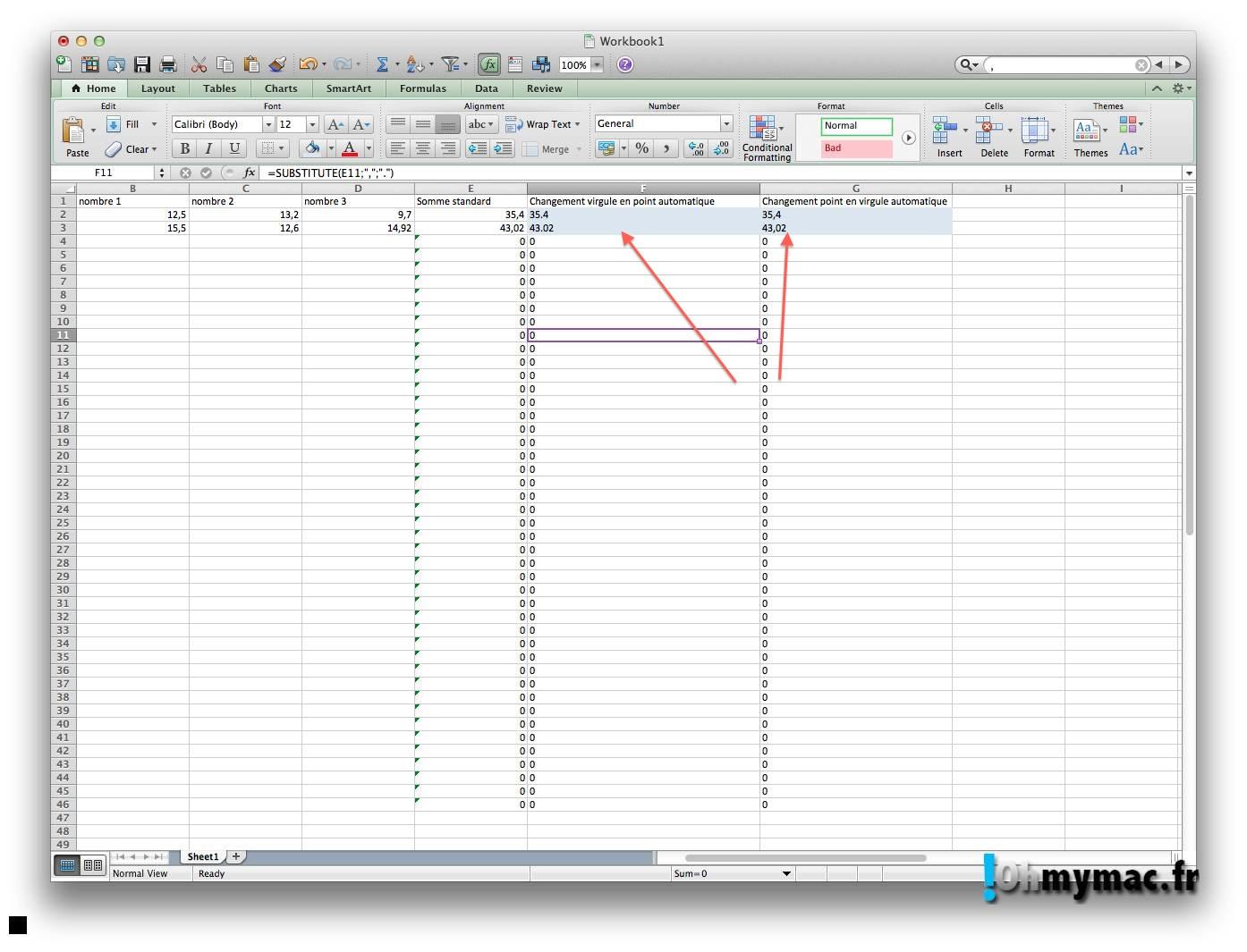 Ohmymac Séparateur décimal sur Excel 2011 Mac 10