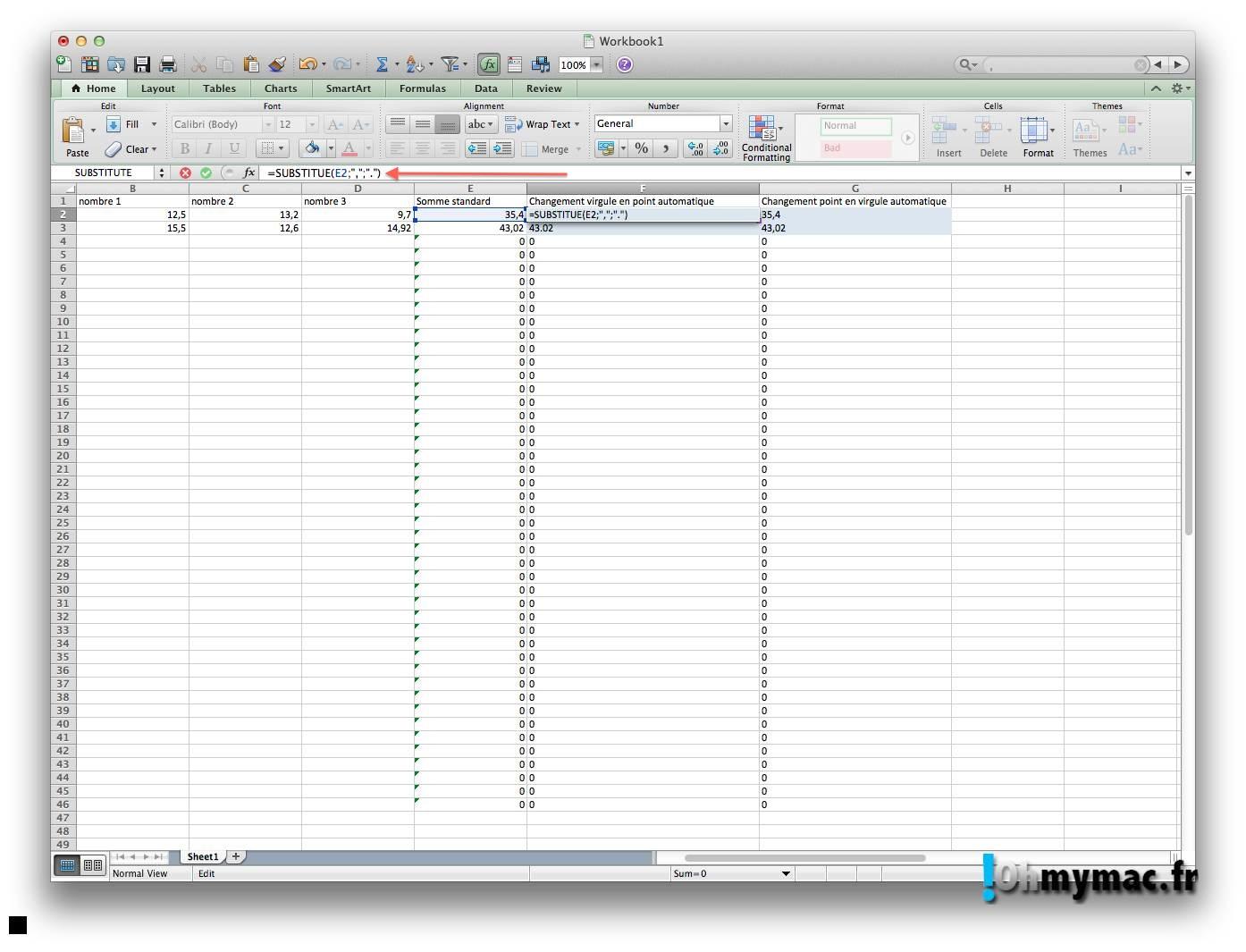 Ohmymac Séparateur décimal sur Excel 2011 Mac 11