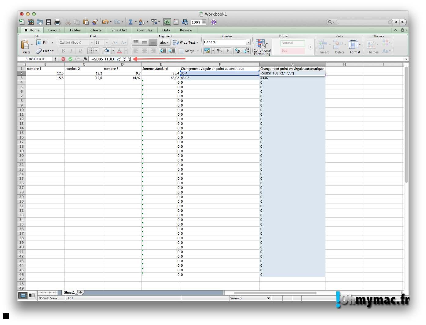 Ohmymac Séparateur décimal sur Excel 2011 Mac 12