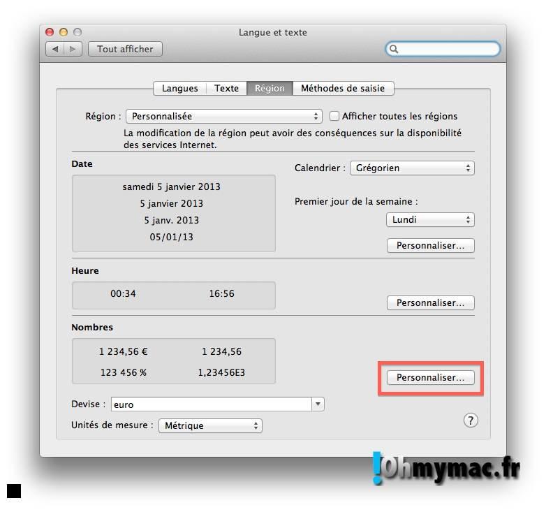 Ohmymac Séparateur décimal sur Excel 2011 Mac 17