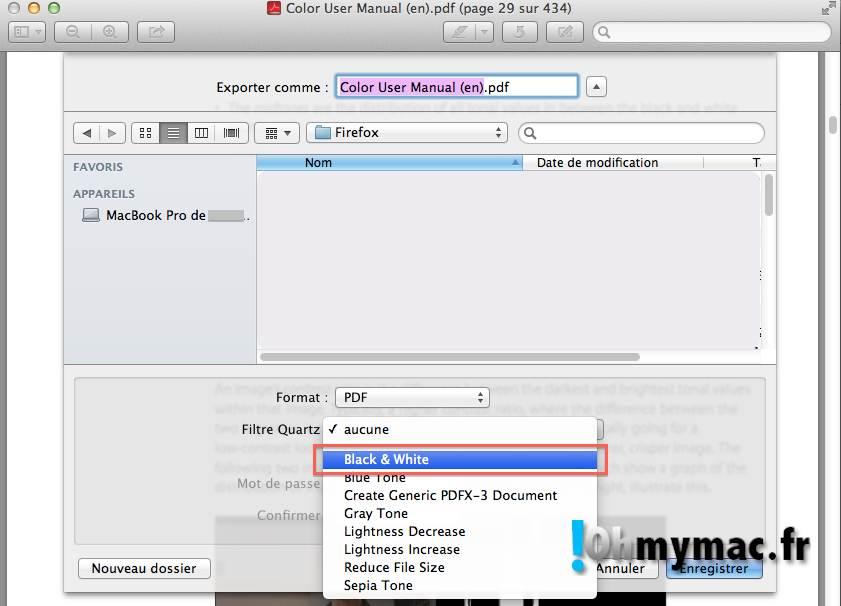 Ohmymac Convertir un PDF couleur en noir et blanc 05