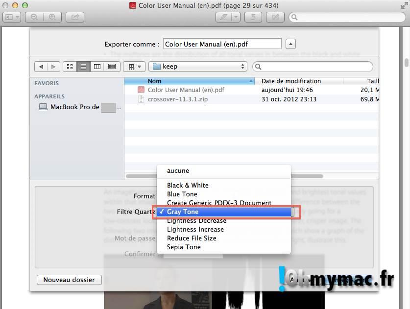 Ohmymac Convertir un PDF couleur en noir et blanc 07
