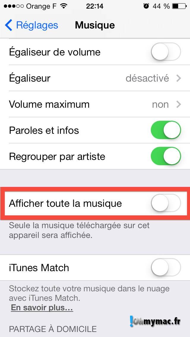 Comment enlever les morceaux iCloud de l'application Musique ? 06