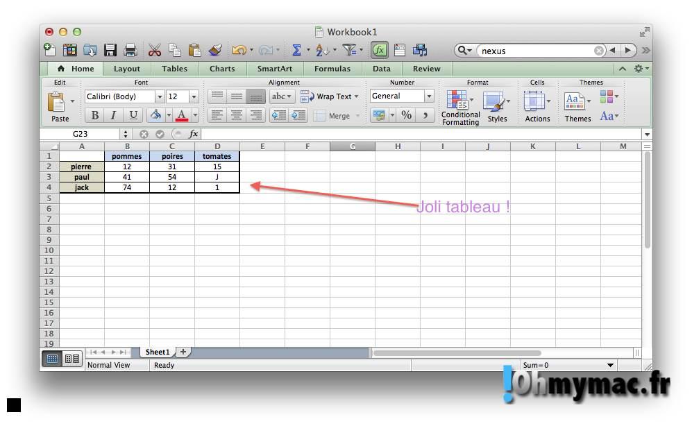 Excel Mac: copier ou exporter un tableau comme une image 01