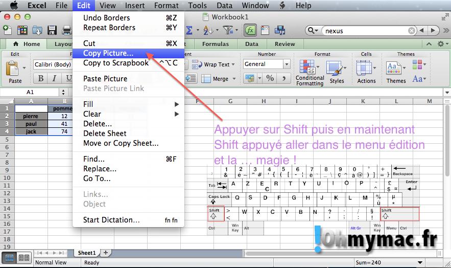Excel Mac: copier ou exporter un tableau comme une image 04