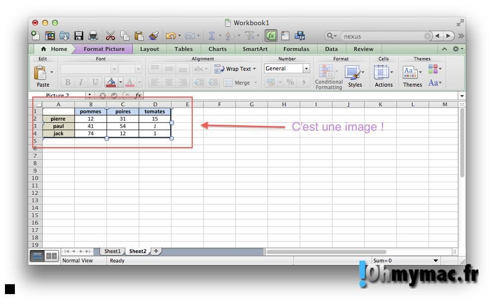 Excel Mac: copier ou exporter un tableau comme une image 07