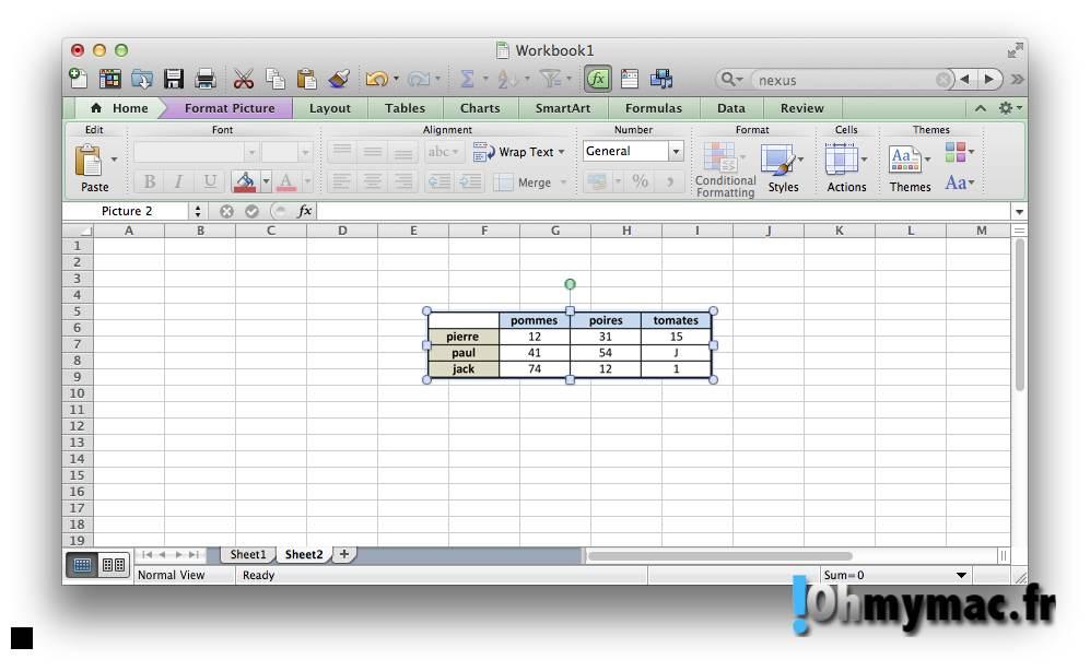 Excel Mac: copier ou exporter un tableau comme une image 08