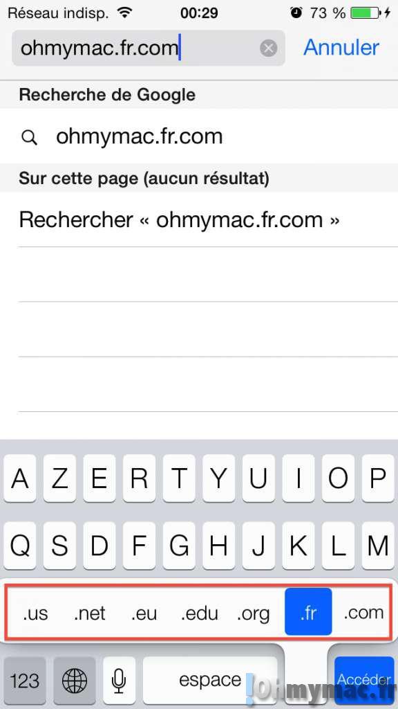 Taper une adresse web URL rapidement sur iPhone ou iPad sur Safari
