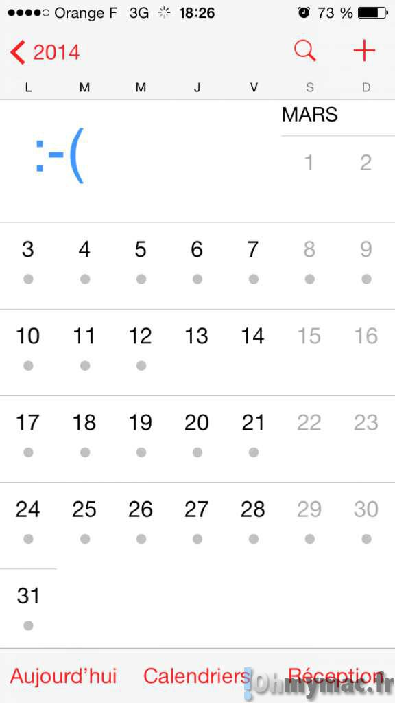 Calendrier iOS 7: retrouver la vue en liste des événements