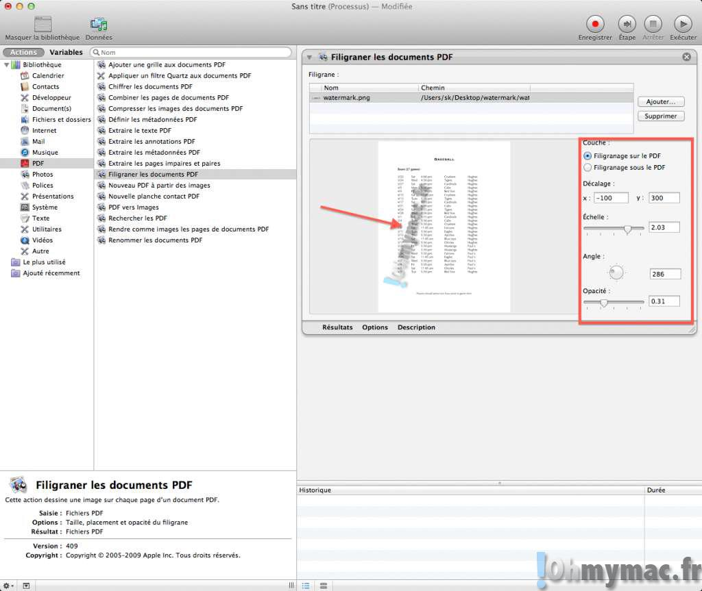 Ajouter un watermark (filigrane) à un document PDF