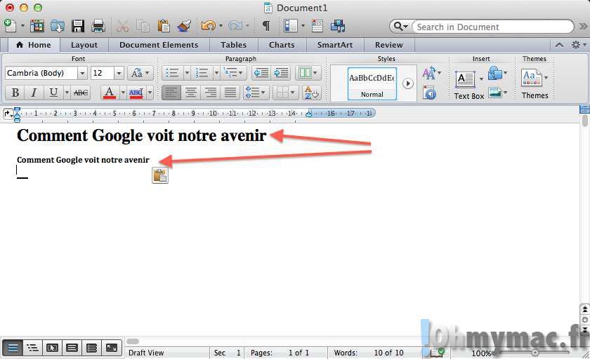 Coller du texte sans mise en forme sur son Mac
