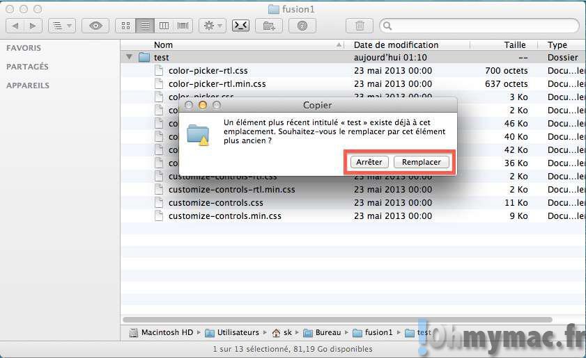 Fusionner deux répertoires avec le Finder Mac