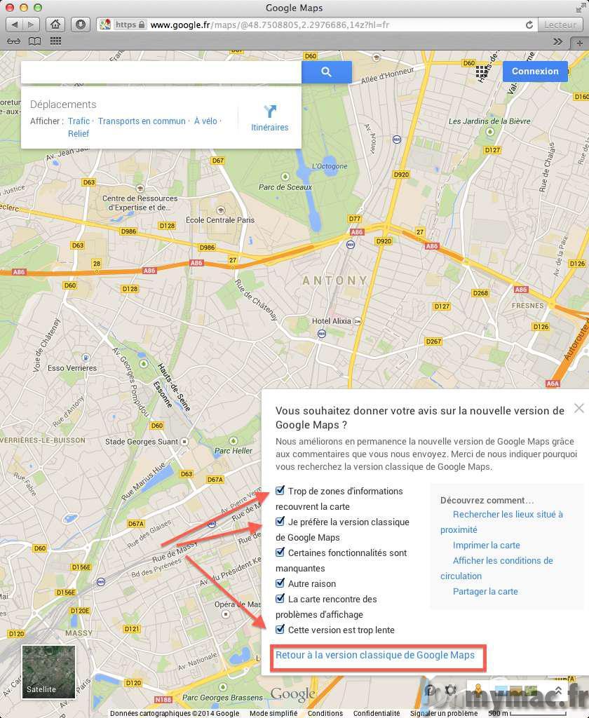 Google Maps: retourner à l'ancienne version classique sur votre Mac