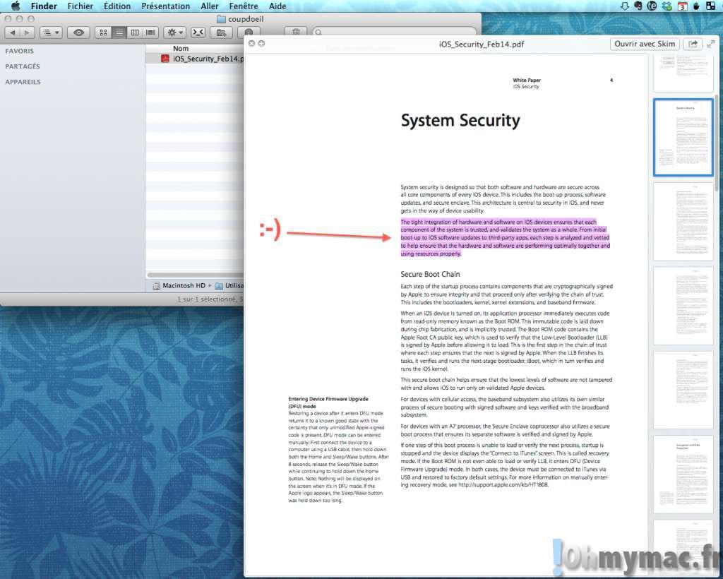 Sélectionner du texte dans Coup d'oeil (Quick Look) sur Mac