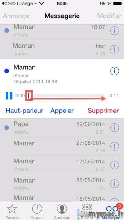 Messagerie vocale visuelle: marquer vos messages comme consultés sur votre iPhone