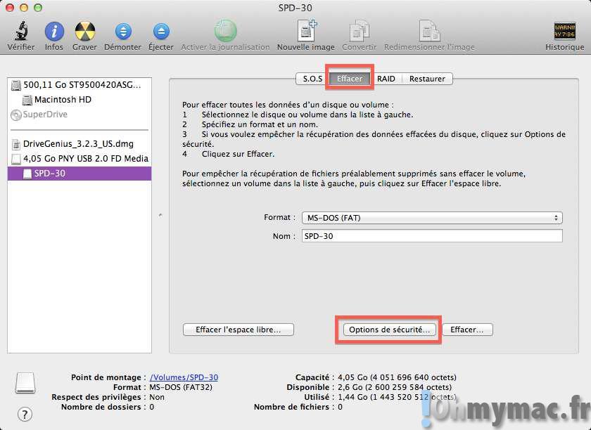 Effacer un disque ou vider la corbeille de façon sécurisée sur son Mac