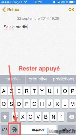 iOS 8: masquer, afficher ou désactiver la saisie prédictive QuickType du clavier de l'iPhone et de l'iPad