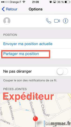 iOS 8: envoyer sa position actuelle ou partager sa position actuelle via iMessage sur iPhone et iPad