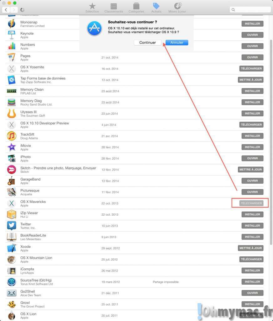 Télécharger et installer d'anciennes versions d'OS X comme Mavericks, Mountain Lion ou Lion sur son Mac