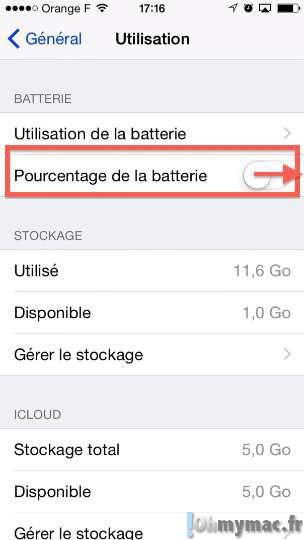 Afficher le pourcentage de batterie restante sur iPhone/iPad