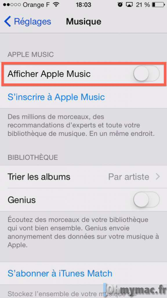 Désactiver Apple Music sur iPhone/iPad